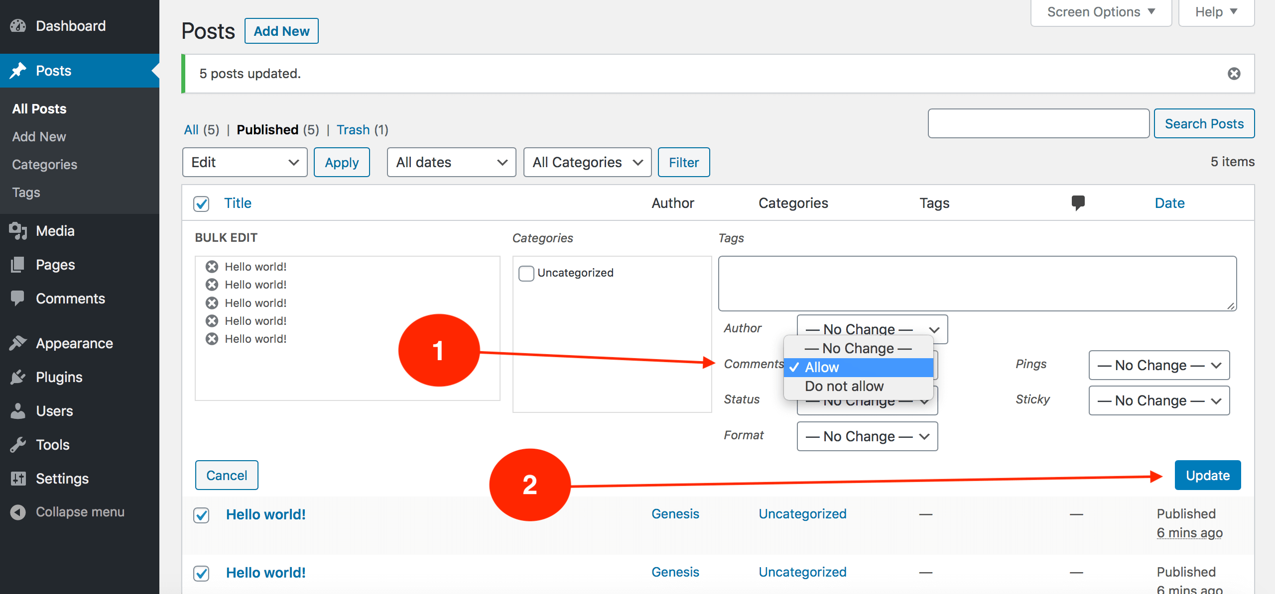 How to allow blog comments in BULK