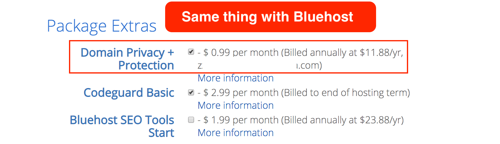How much does Bluehost Whois privacy cost?