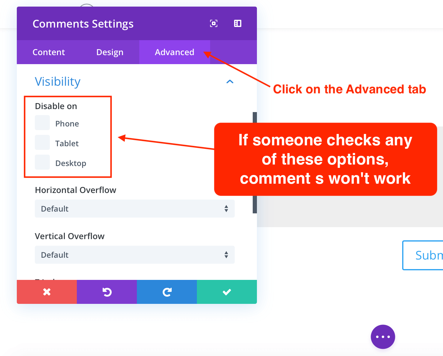 Using the comments visibility by device in Divi theme