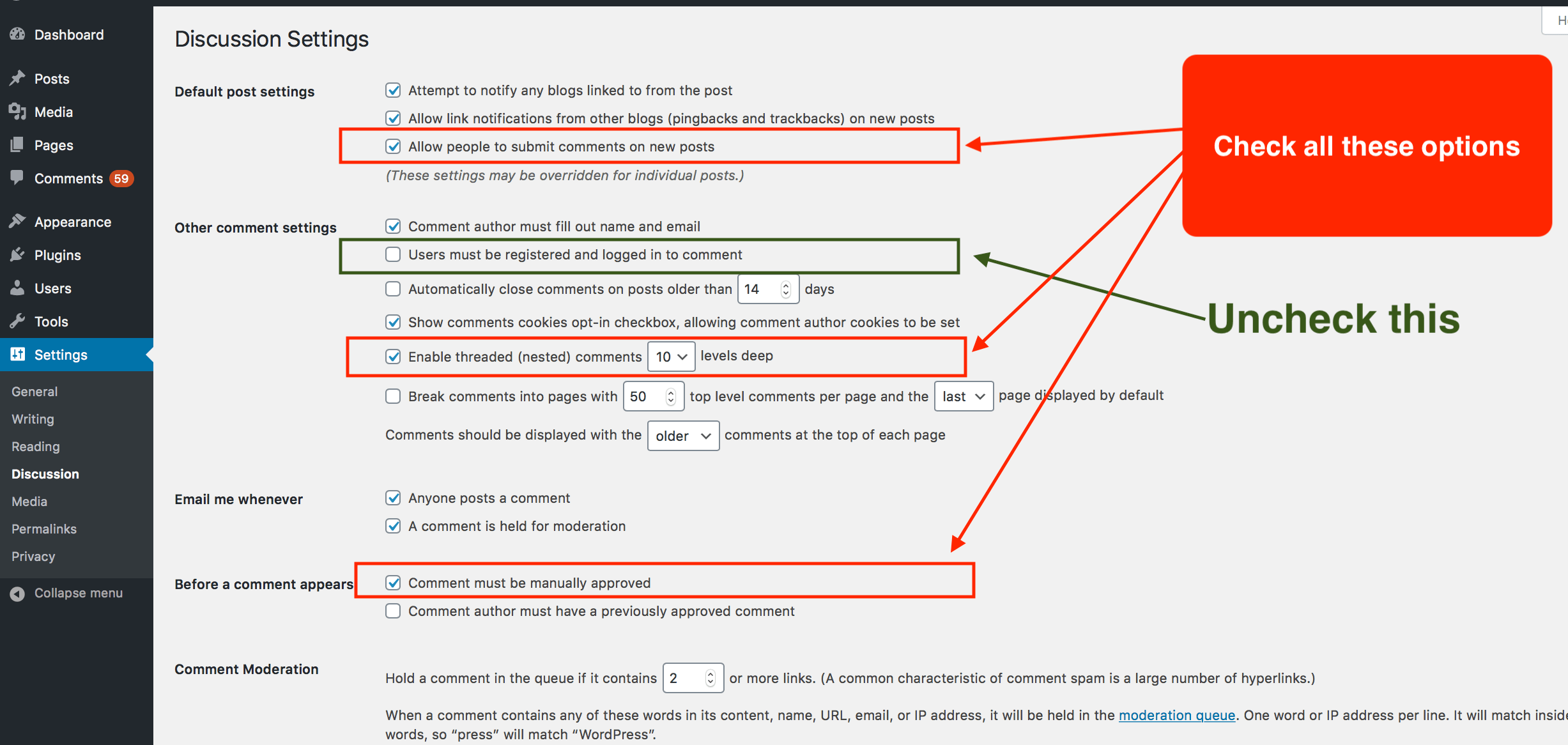 Using the WordPress discussion settings