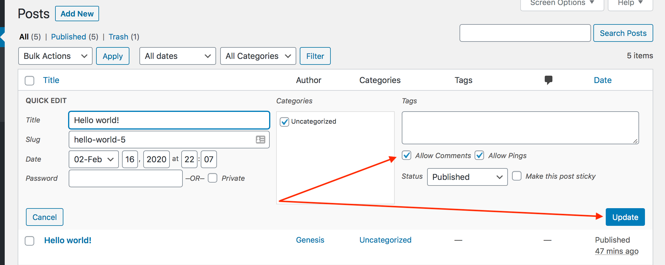 How to allow comments in a single WordPress post