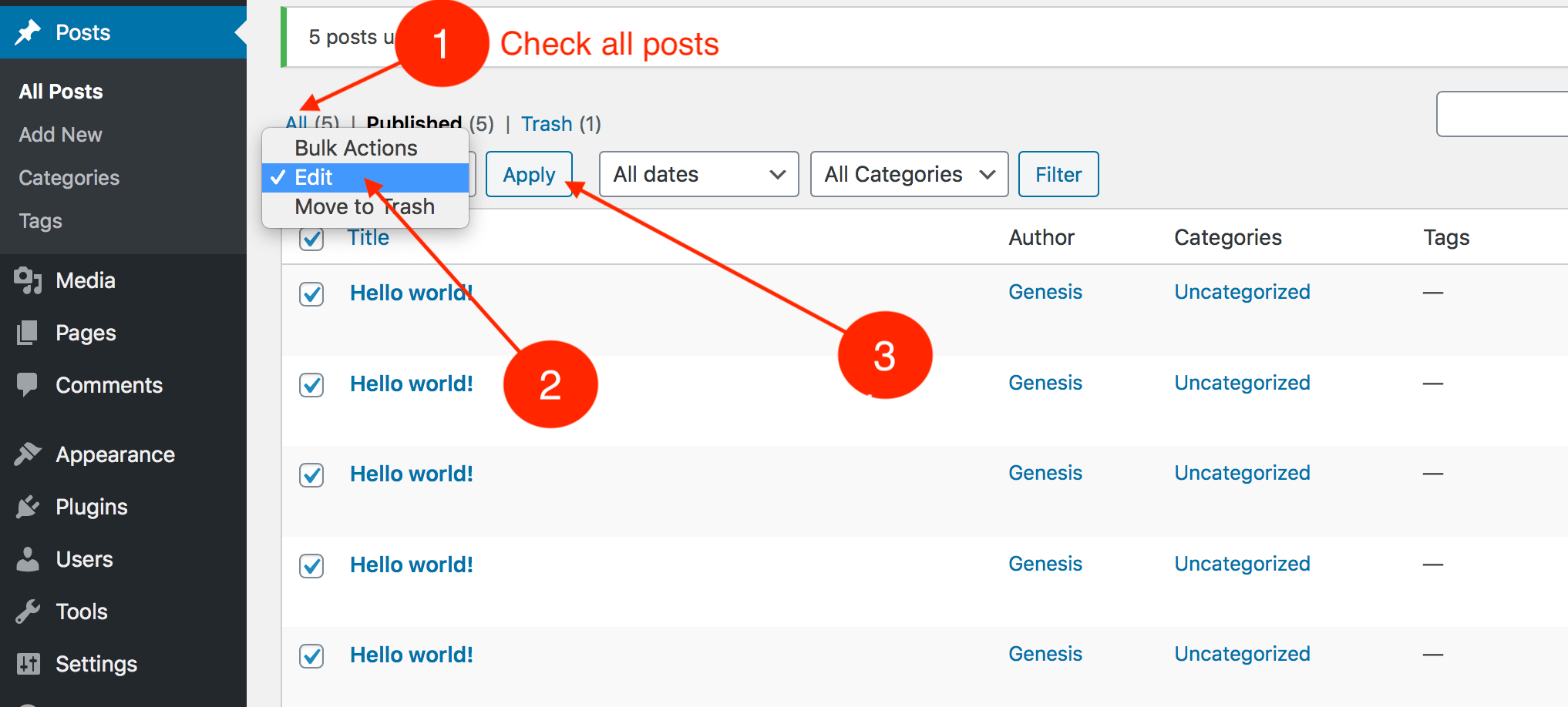How to check all the wordpress posts